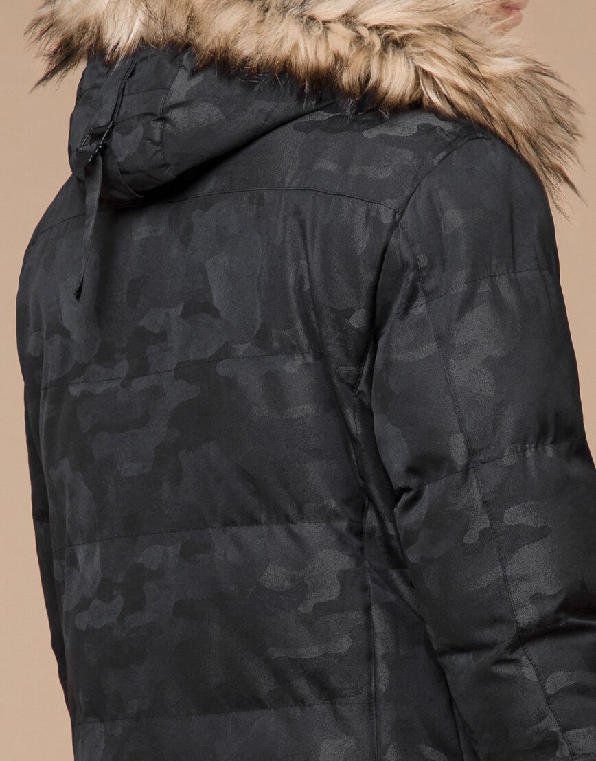 Куртка черная дизайнерская зимняя удлиненная модель 25390 фото 7