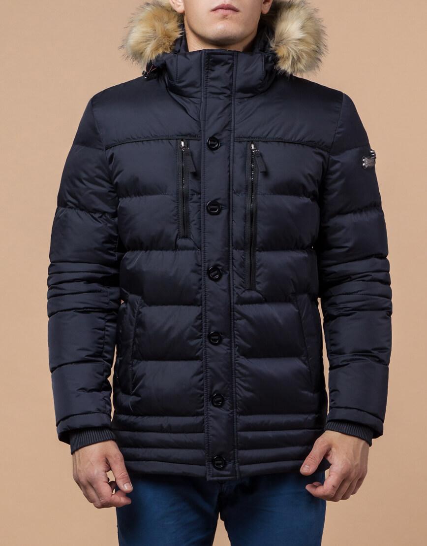 Куртка высококачественная темно-синяя модель 45610 фото 2
