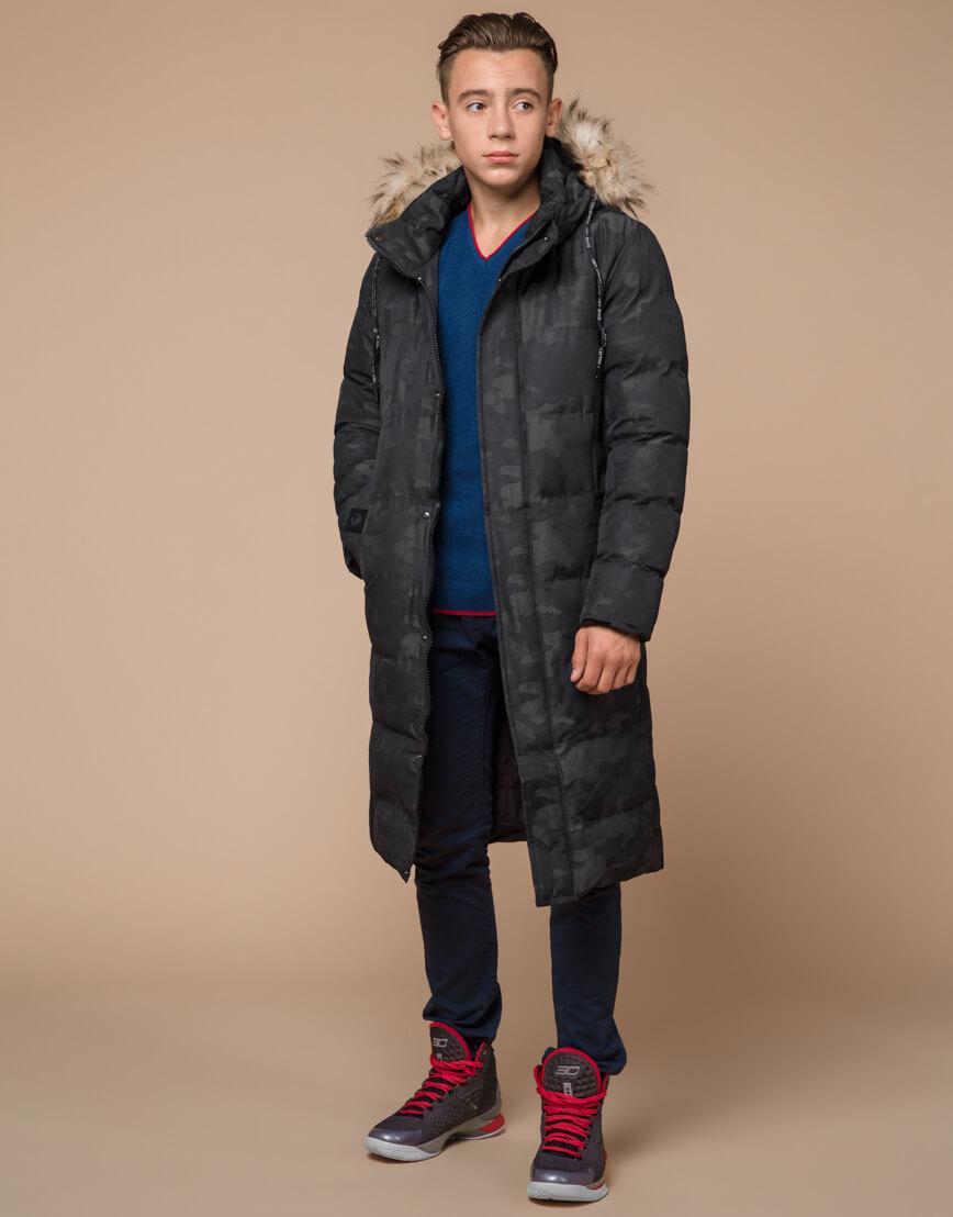 Куртка черная дизайнерская зимняя удлиненная модель 25390 фото 2