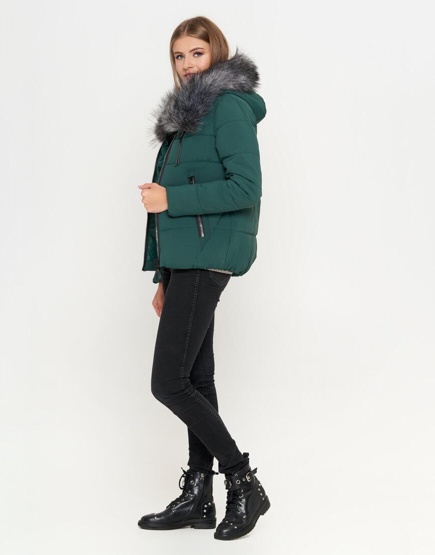 Куртка женская модного дизайна цвет зеленый модель 6529