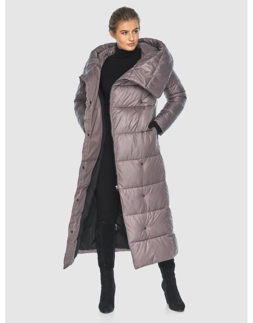Подростковая пудровая брендовая зимняя куртка Ajento 22356 фото 3