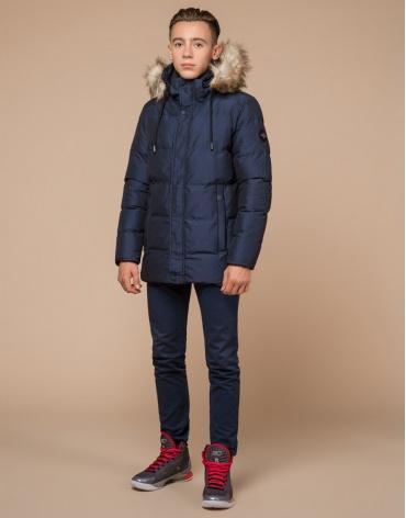 Зимняя подростковая темно-синяя дизайнерская куртка модель 25510 фото 1
