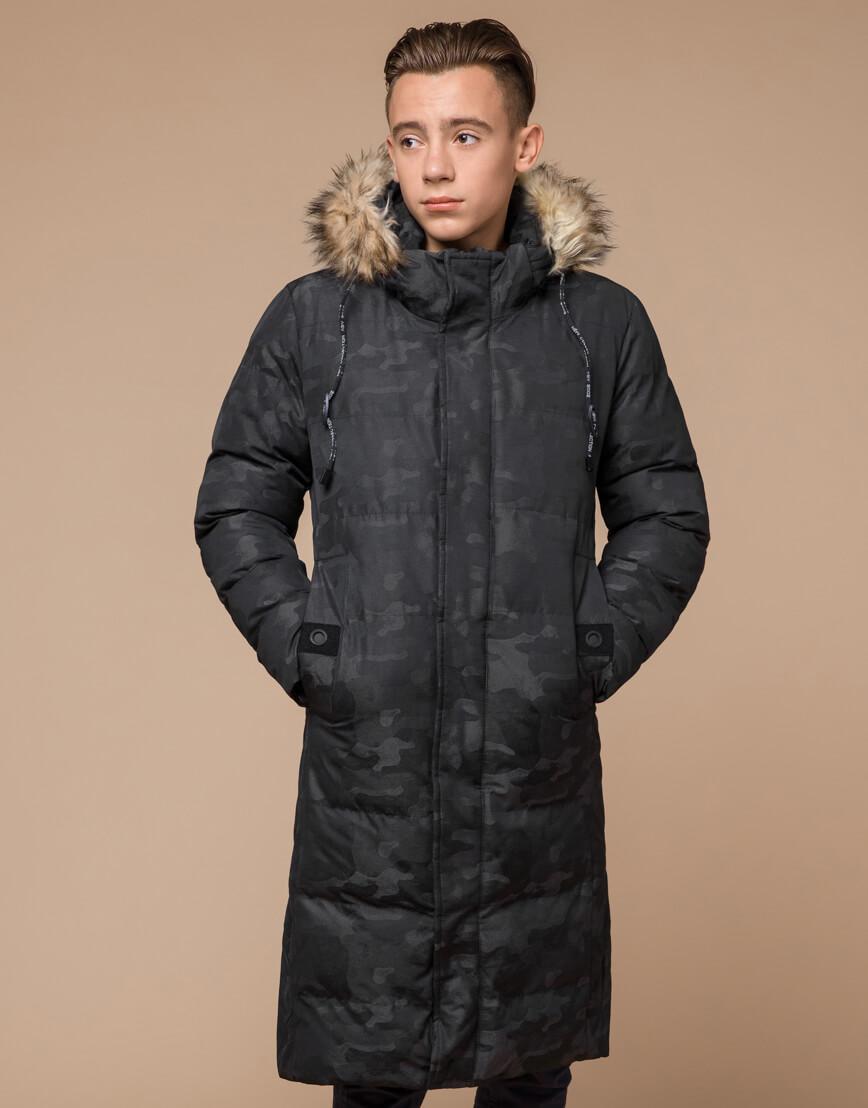 Куртка черная дизайнерская зимняя удлиненная модель 25390 фото 3