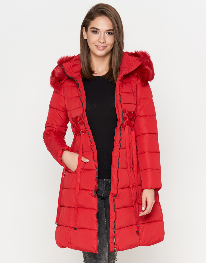 Красная куртка яркая женская модель 1816