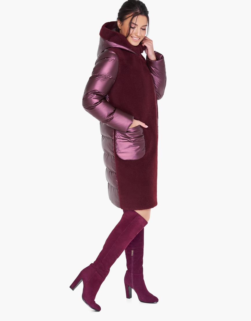 Зимний воздуховик женский фирменный Braggart цвет марсала модель 31095