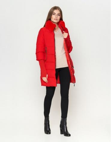 Дизайнерская красная куртка женская модель 1719
