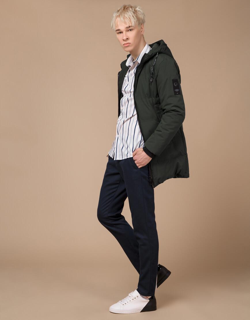 Темно-зеленая зимняя куртка фирменная модель 25400 фото 3
