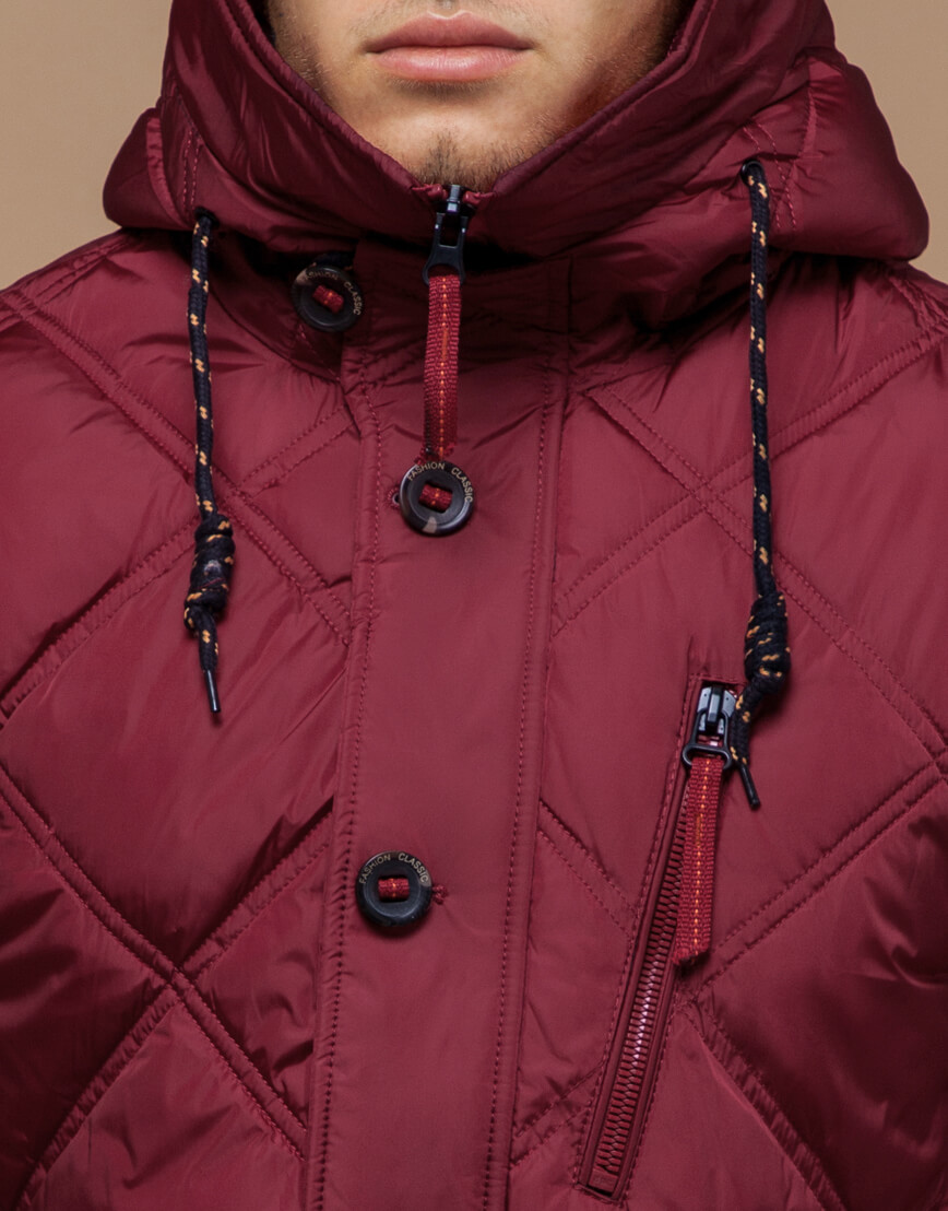 Красная мужская куртка на зиму модель 12481 оптом