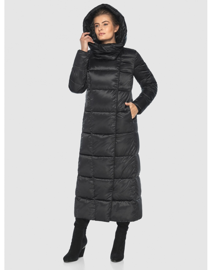 Чёрная подростковая комфортная куртка зимняя Ajento 22356 фото 5