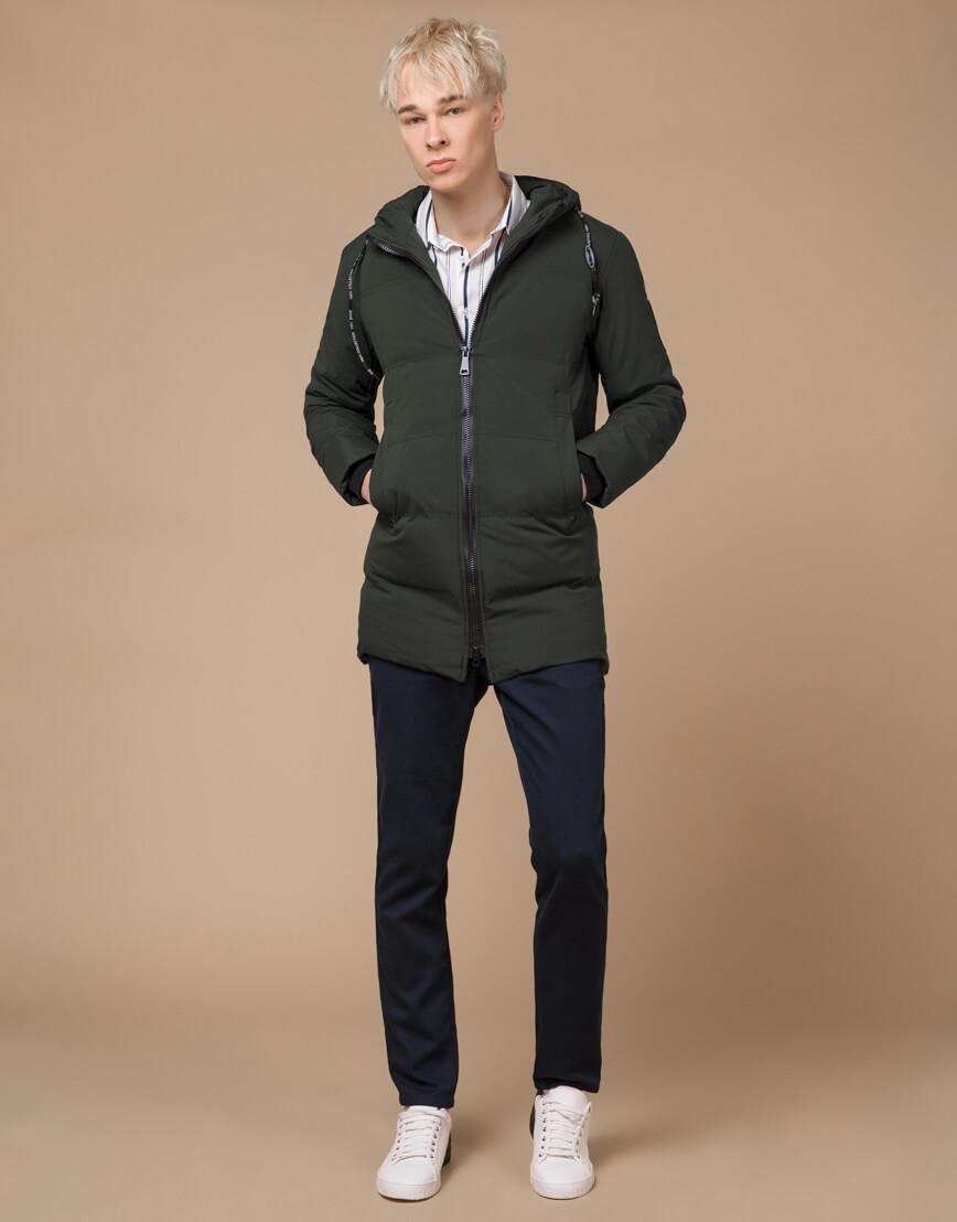 Темно-зеленая зимняя куртка фирменная модель 25400 фото 1