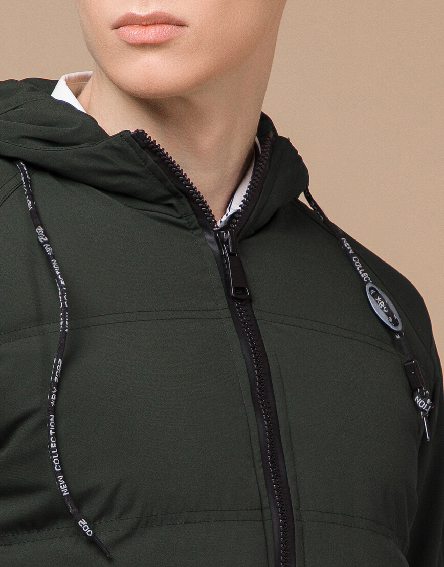 Темно-зеленая зимняя куртка фирменная модель 25400 фото 5