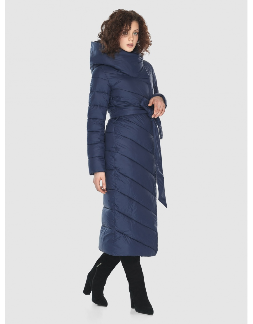 Синяя длинная куртка Moc женская тёплая M6471 фото 3