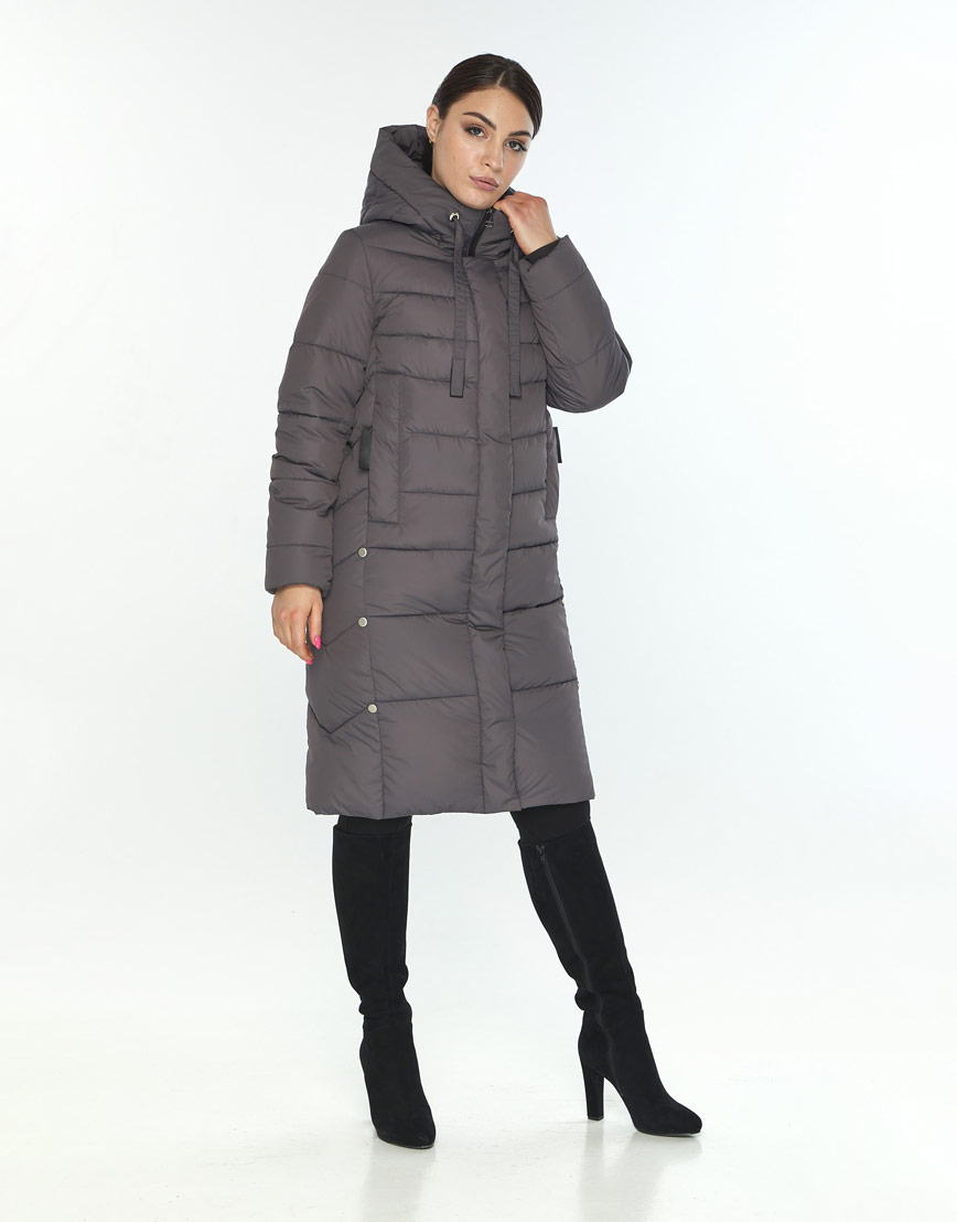 Серая фирменная женская куртка Wild Club зимняя 541-94 фото 2