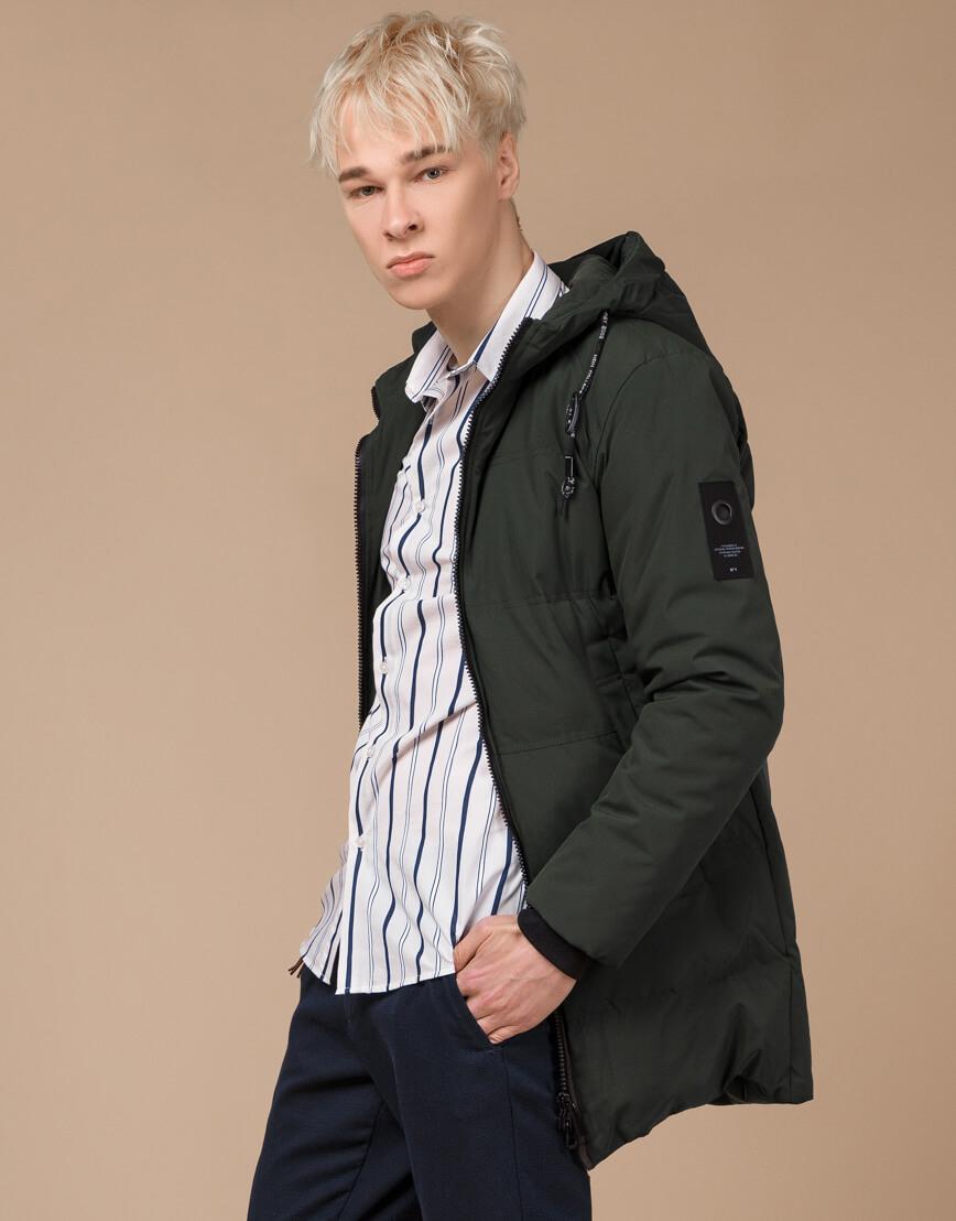Темно-зеленая зимняя куртка фирменная модель 25400 фото 2