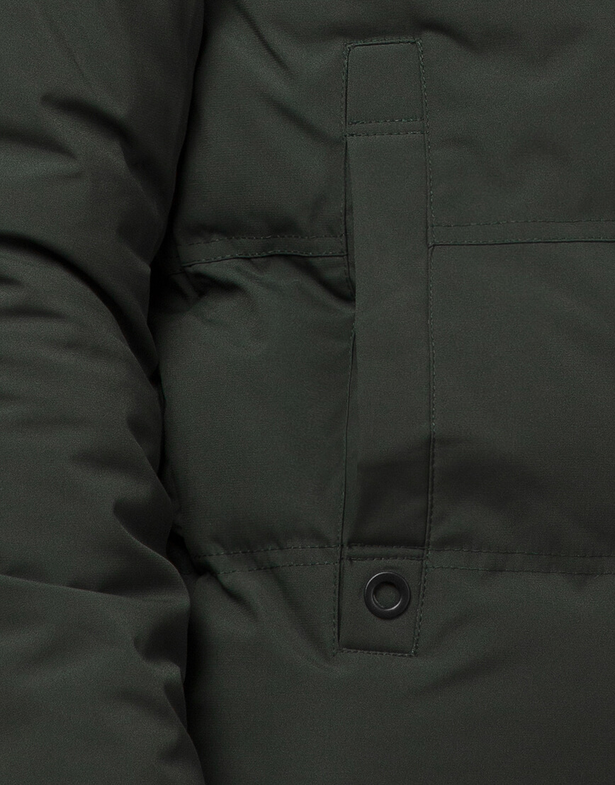 Темно-зеленая зимняя куртка фирменная модель 25400 фото 6