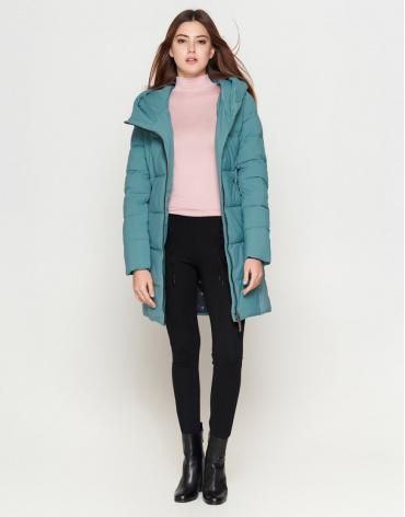 Зимняя молодежная зеленая куртка женская модель 25085