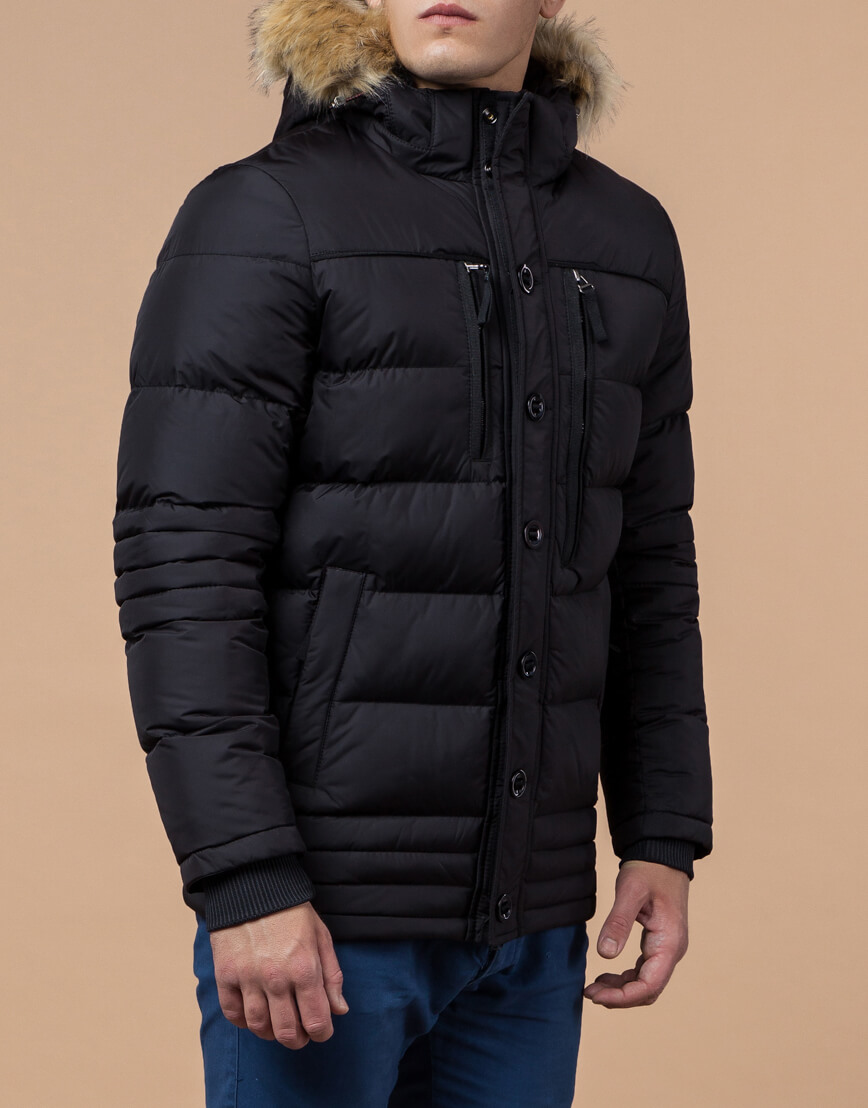 Черная зимняя модная куртка модель 45610 фото 2