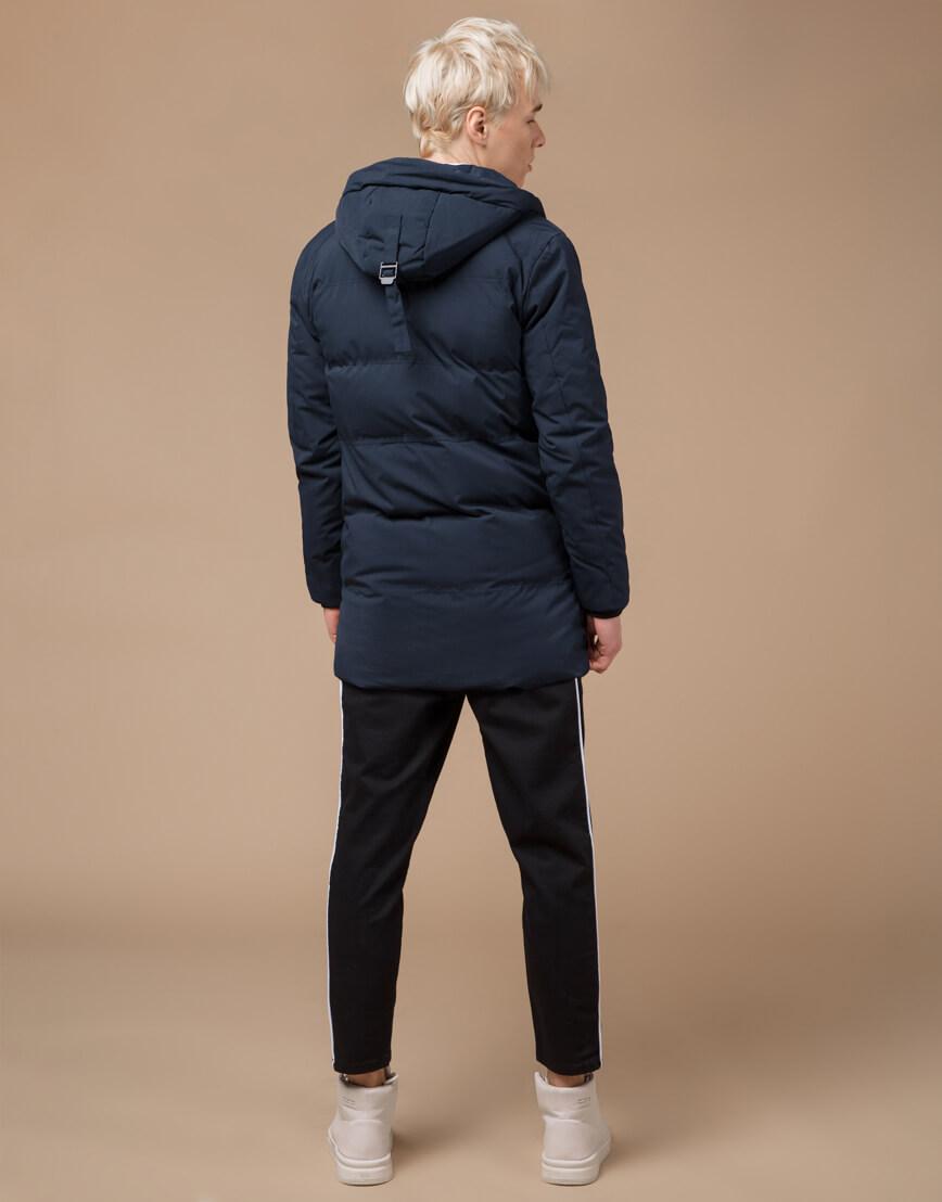 Темно-синяя куртка зимняя модного дизайна модель 25400