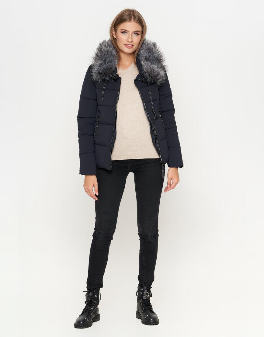 Синяя куртка с капюшоном женская модель 6529