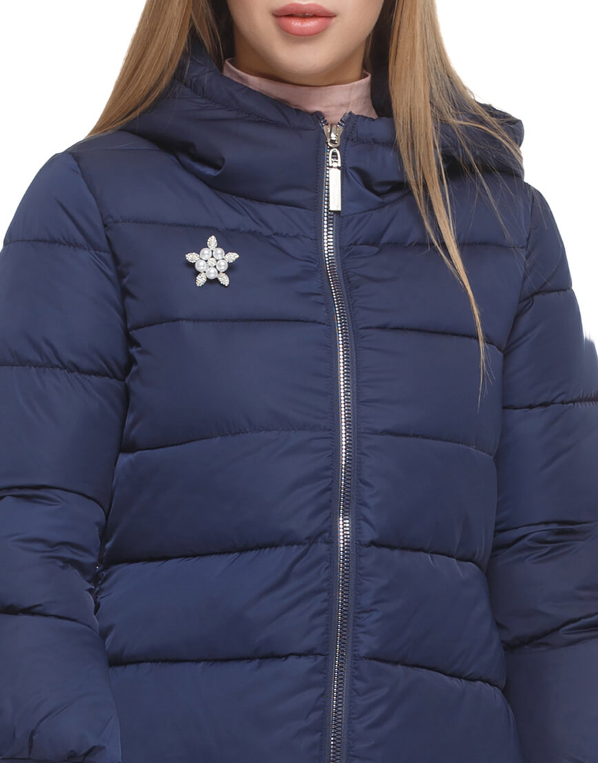 Женская куртка с эластичными манжетами синяя модель 5219 фото 5