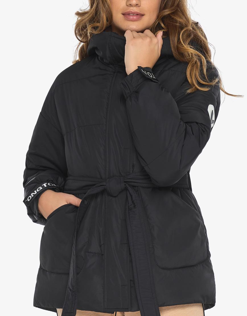 Пуховик куртка Youth женская удобная черная модель 21045 фото 7