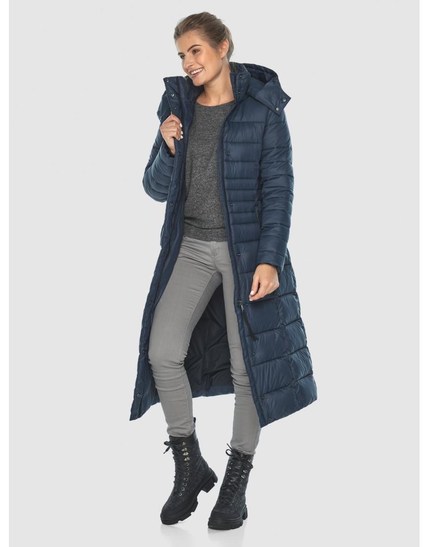 Тёплая длинная женская куртка Ajento синяя 21375 фото 6