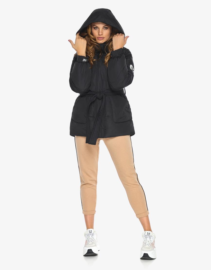 Пуховик куртка Youth женская удобная черная модель 21045 фото 4