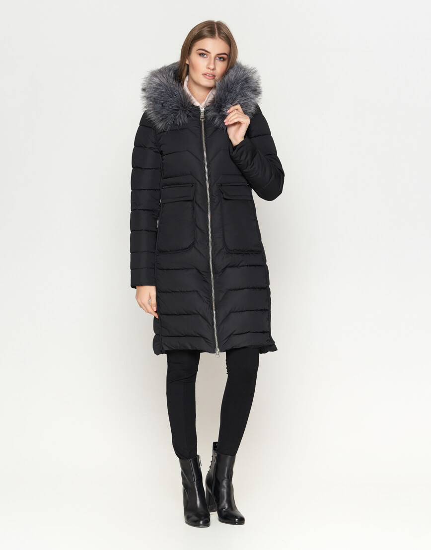 Куртка женская с карманами черная модель 6617 фото 3