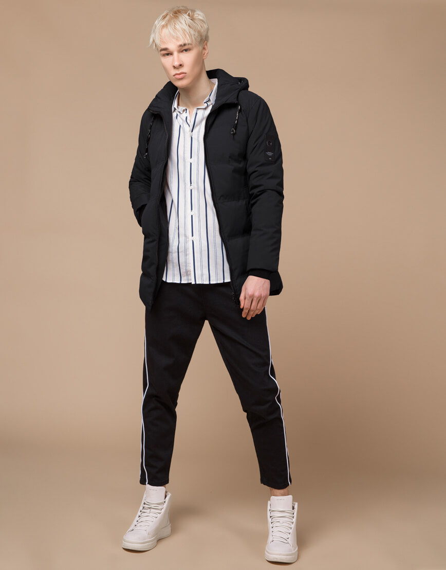 Куртка зимняя черная комфортная модель 25400 фото 2