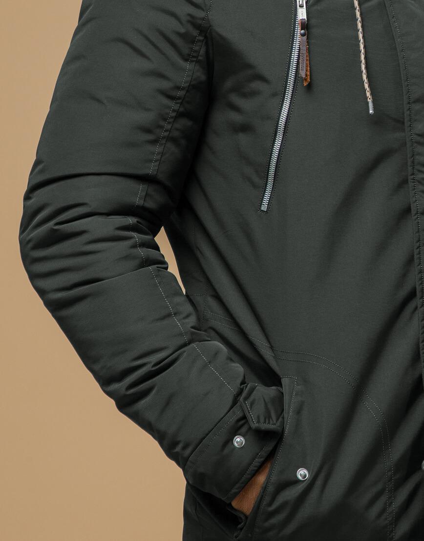 Зимняя мужская парка цвета хаки модель 14015 оптом фото 5
