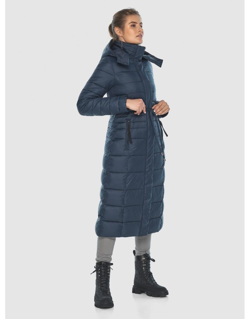 Тёплая длинная женская куртка Ajento синяя 21375 фото 5