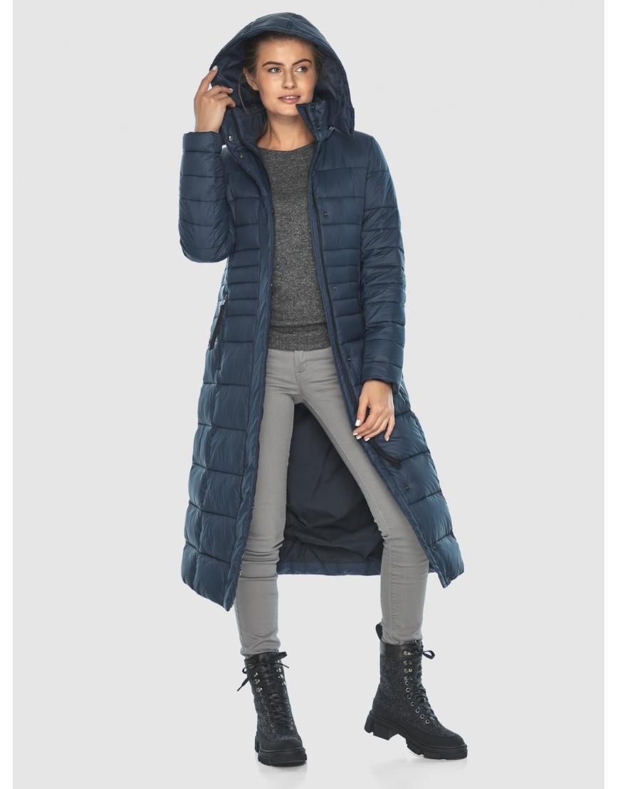 Тёплая длинная женская куртка Ajento синяя 21375 фото 3