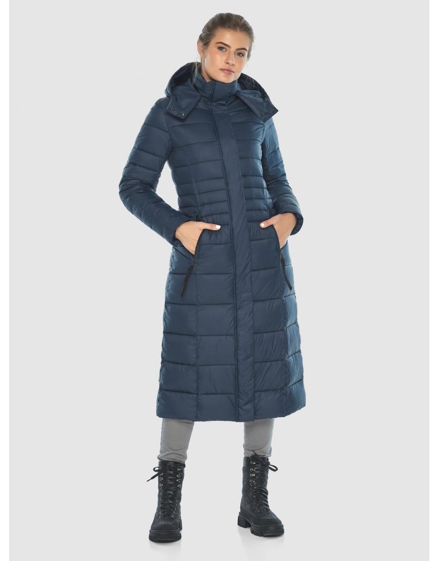 Тёплая длинная женская куртка Ajento синяя 21375 фото 1