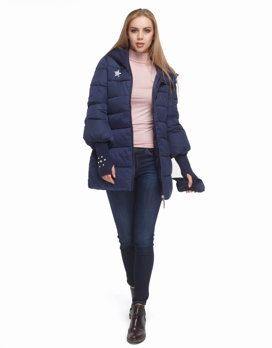 Женская куртка с эластичными манжетами синяя модель 5219 фото 2