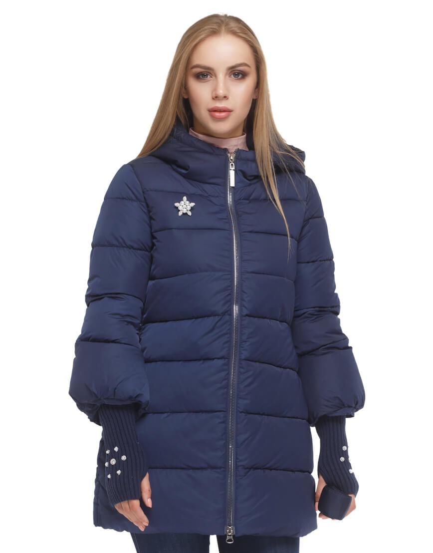 Женская куртка с эластичными манжетами синяя модель 5219