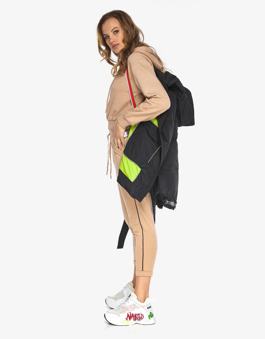 Пуховик куртка Youth женская удобная черная модель 21045 фото 2