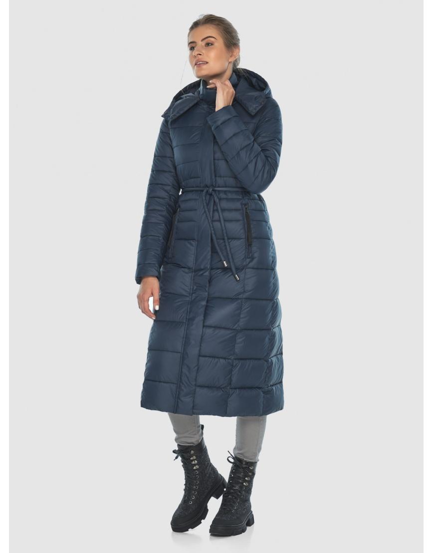 Тёплая длинная женская куртка Ajento синяя 21375 фото 2