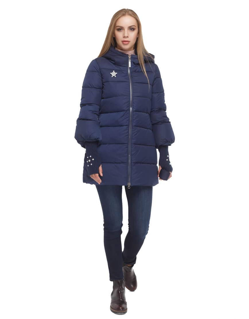 Женская куртка с эластичными манжетами синяя модель 5219 фото 3