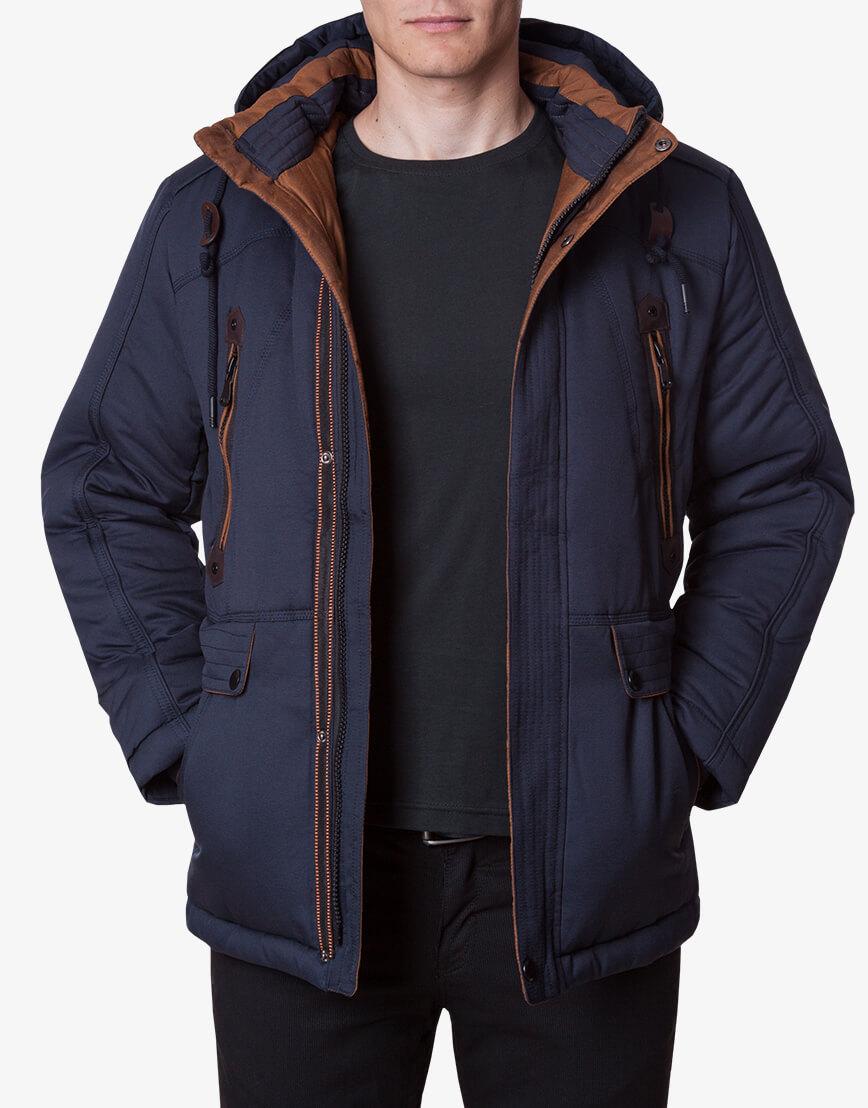 Ультрамодная темно-синяя куртка модель 1606 фото 2