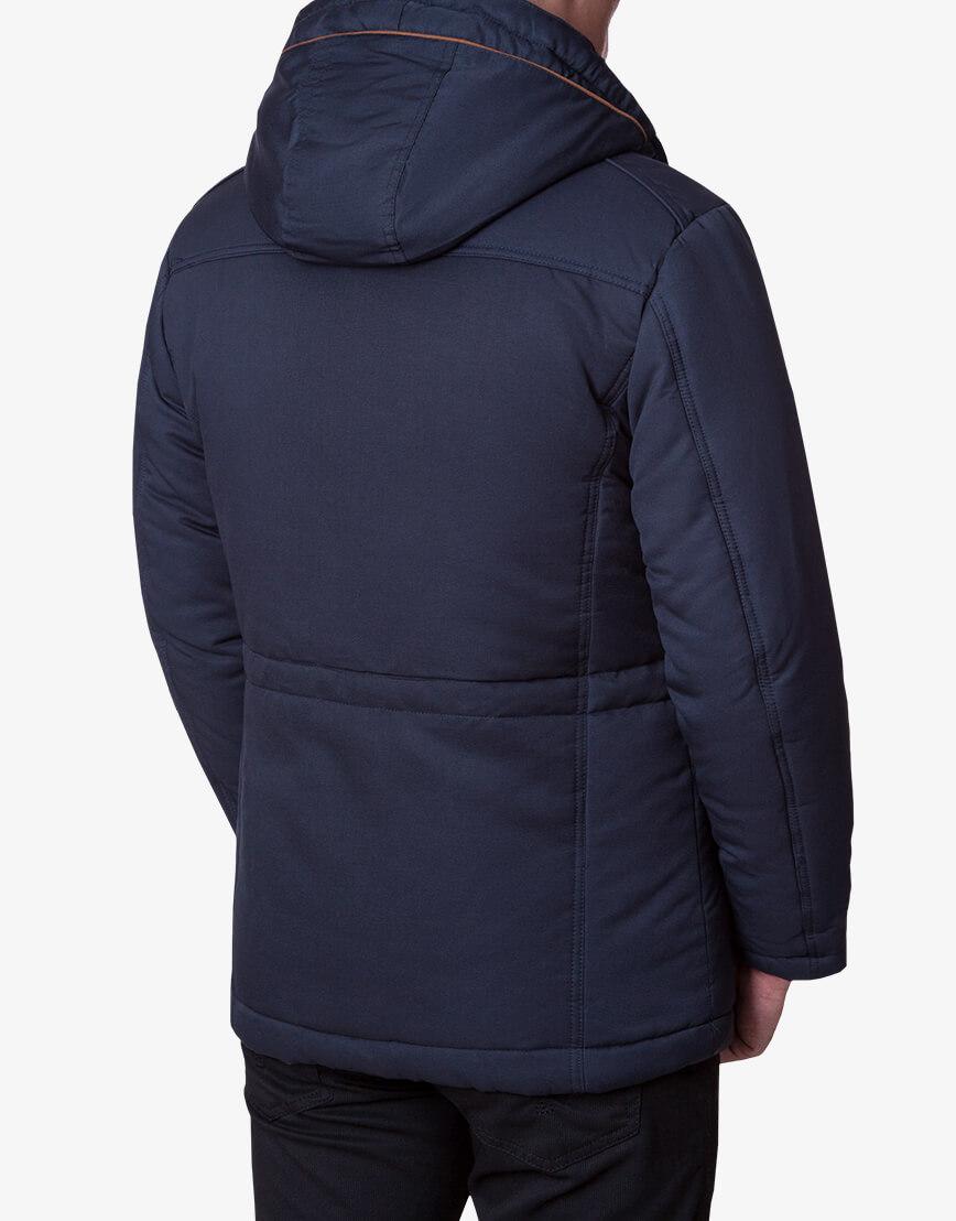 Ультрамодная темно-синяя куртка модель 1606 фото 3