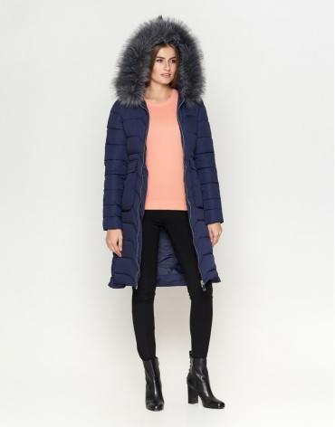 Синяя куртка женская с опушкой модель 6617 фото 1