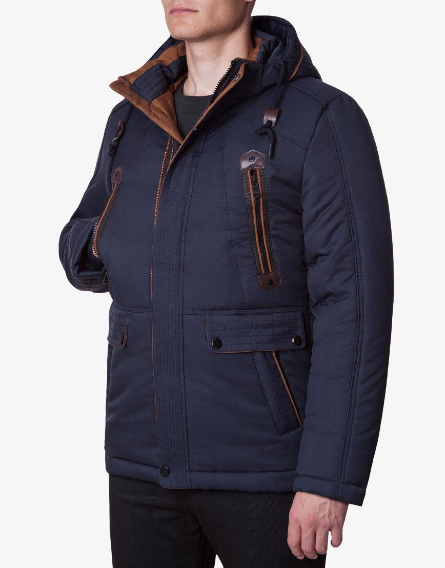 Ультрамодная темно-синяя куртка модель 1606 фото 1