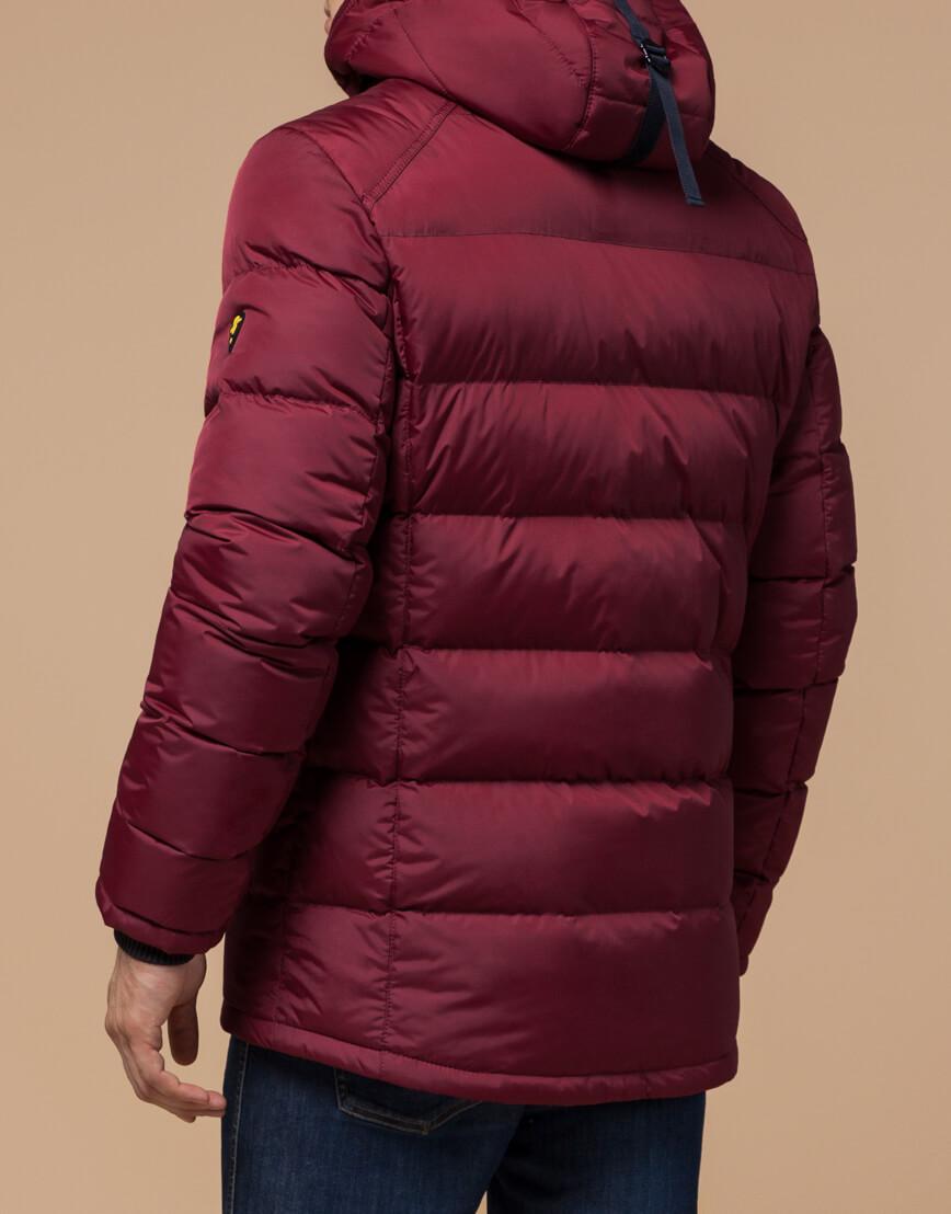 Бордово-черная куртка зимняя мужская модель 10168 оптом