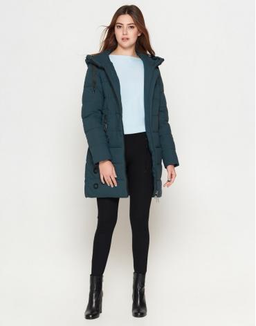 Зимняя молодежная бирюзовая куртка женская модель 25125