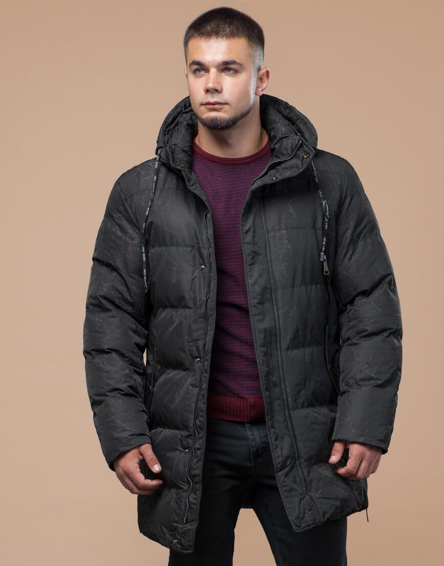 Черная куртка зимняя удобная дизайнерская модель 25420