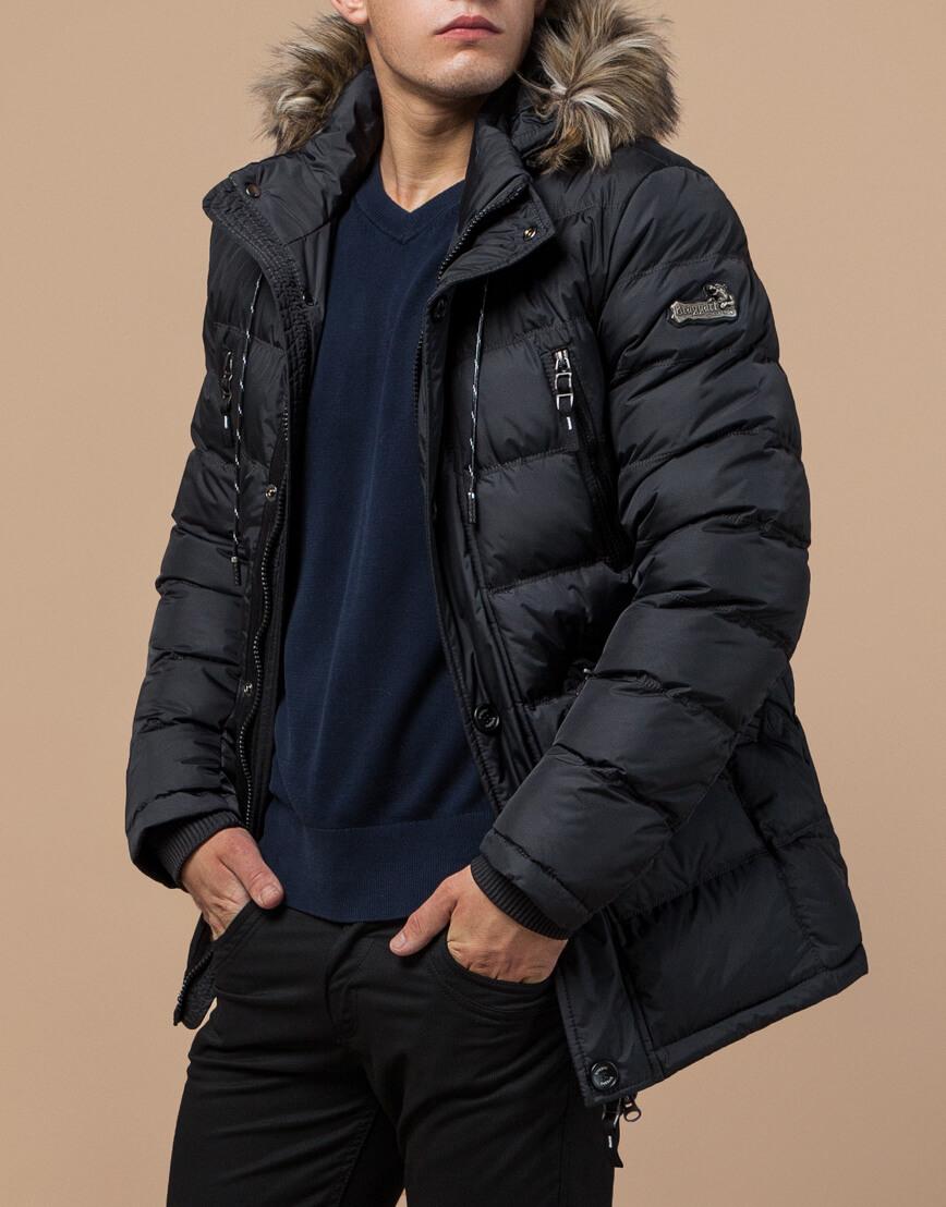 Графитовая зимняя куртка мужская модель 15335 оптом
