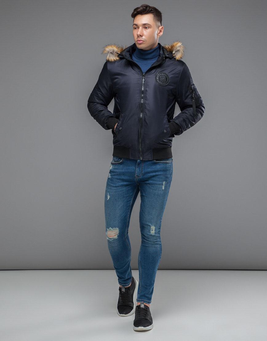 Теплая осенне-весенняя куртка бомбер темно-синяя модель 46575 фото 1