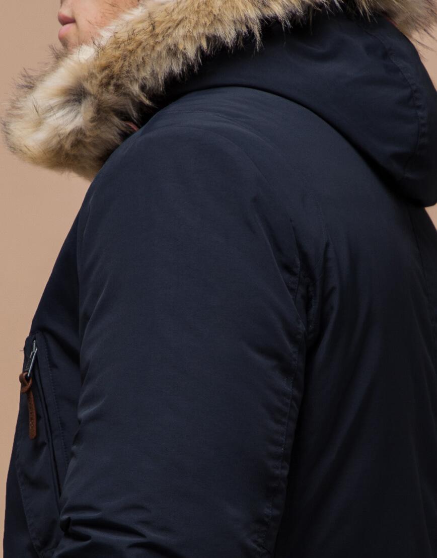 Парка синяя зимняя качественного пошива модель 32450 фото 6