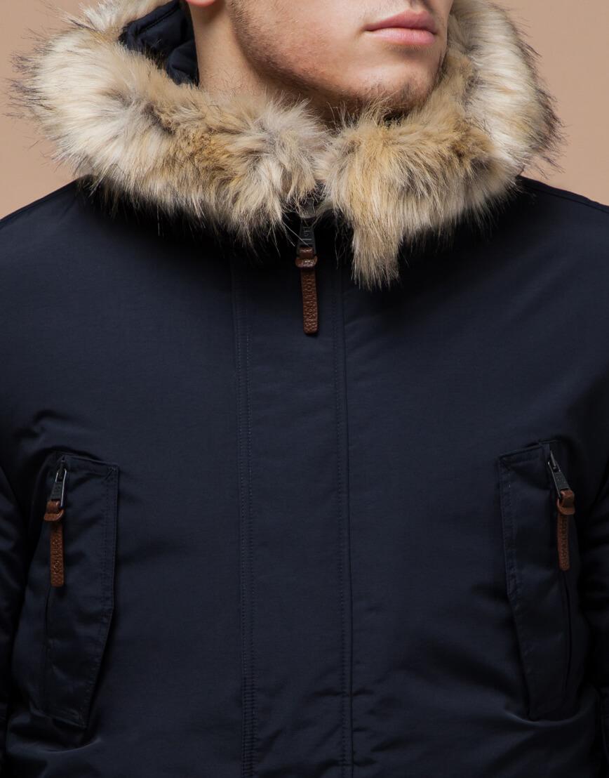 Парка синяя зимняя качественного пошива модель 32450 фото 4