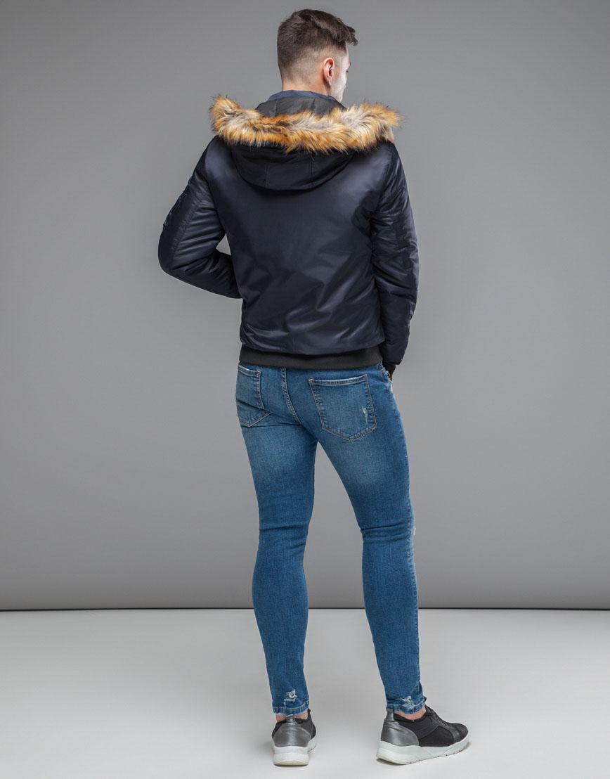 Теплая осенне-весенняя куртка бомбер темно-синяя модель 46575 фото 4